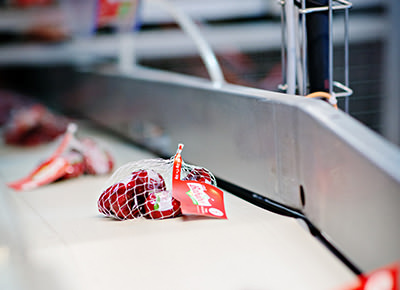 Mini Babybel cheeses on equipment