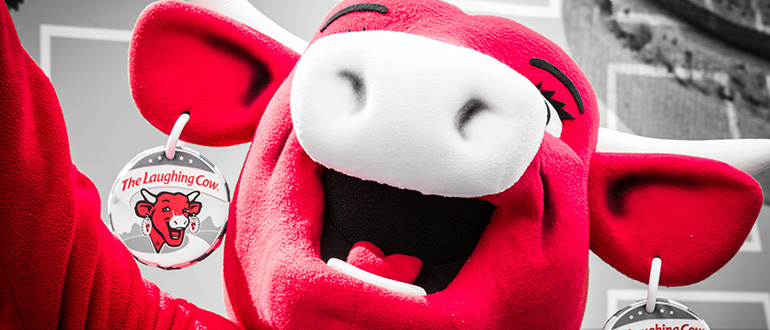 The Laughing Cow mascot head closeup
